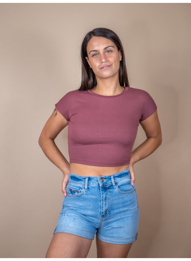 Dusty Mauve Ribbed Baby Tee