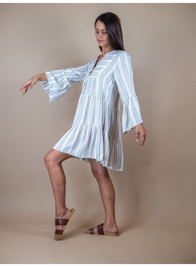 Conch Shell Long Sleeve Peasant Dress