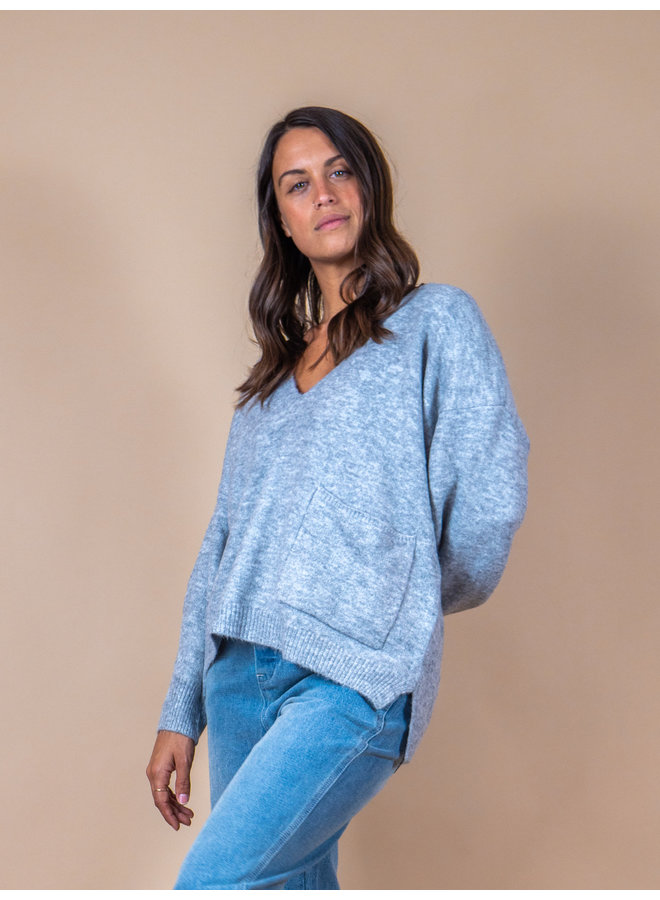 Heather Grey Pocket Sweater