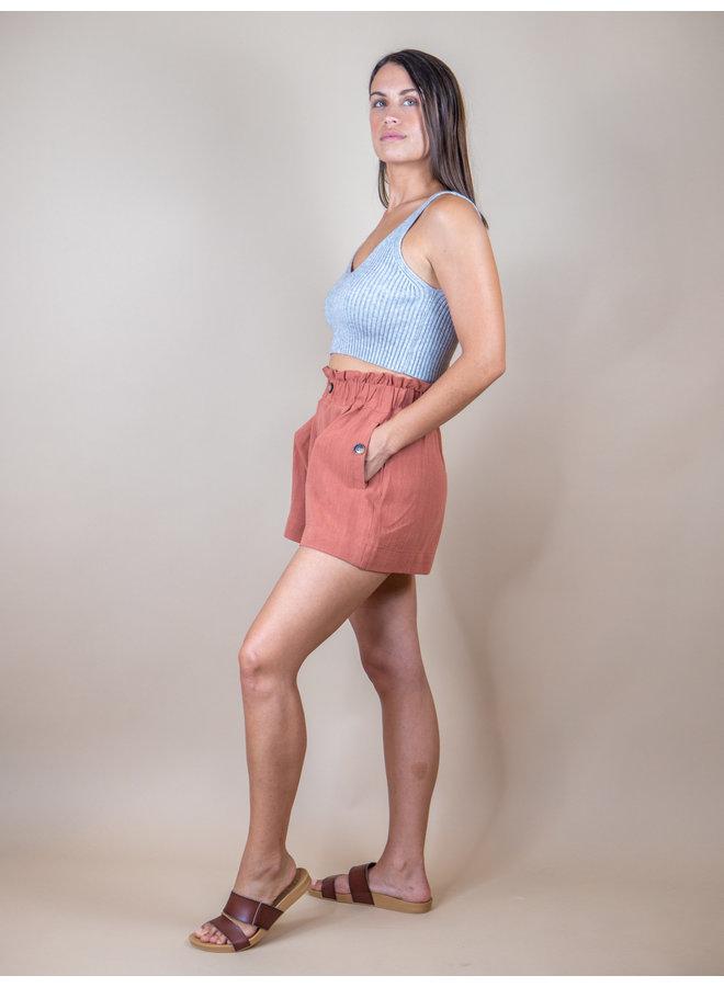 Terracotta Paper Bag Shorts