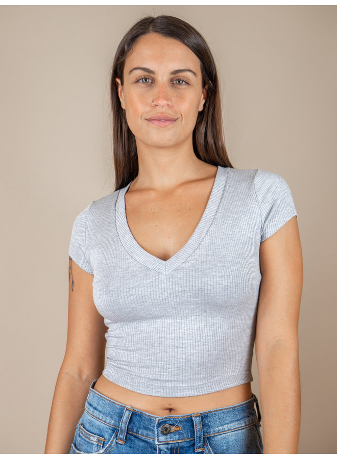 Grey Ribbed V-Neck T-Shirt