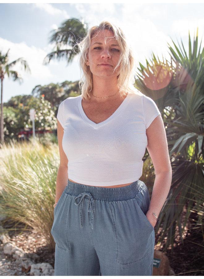White Ribbed V-Neck T-Shirt