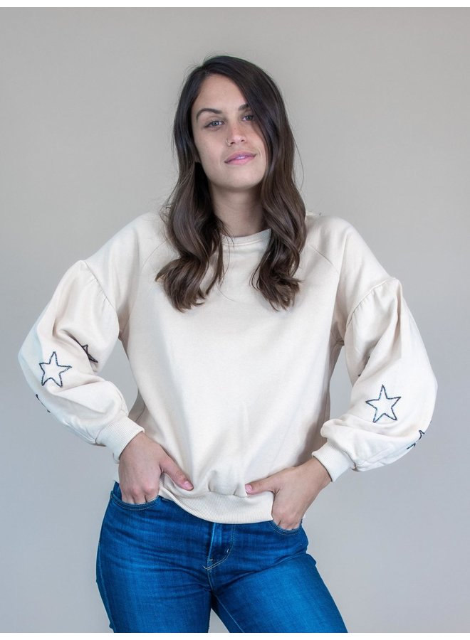 Starry Taupe Balloon Sleeve Sweatshirt