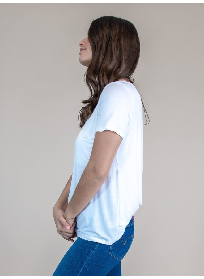 Sail Away Ivory Pocket Tee