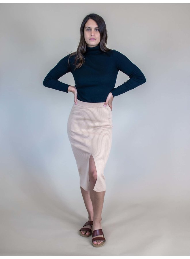 Andi Taupe Ribbed Midi Skirt