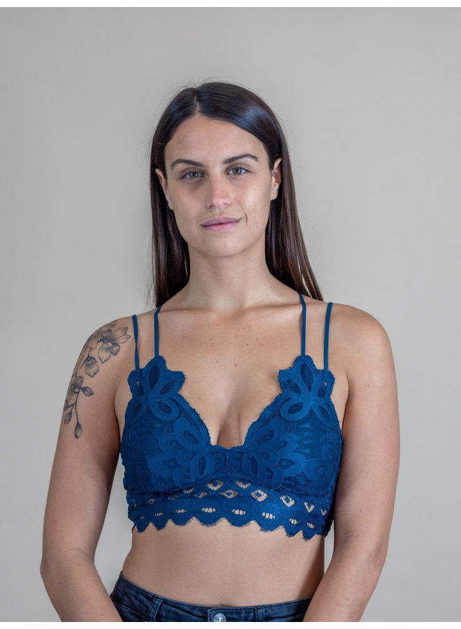 Teal Scalloped Lace Bralette