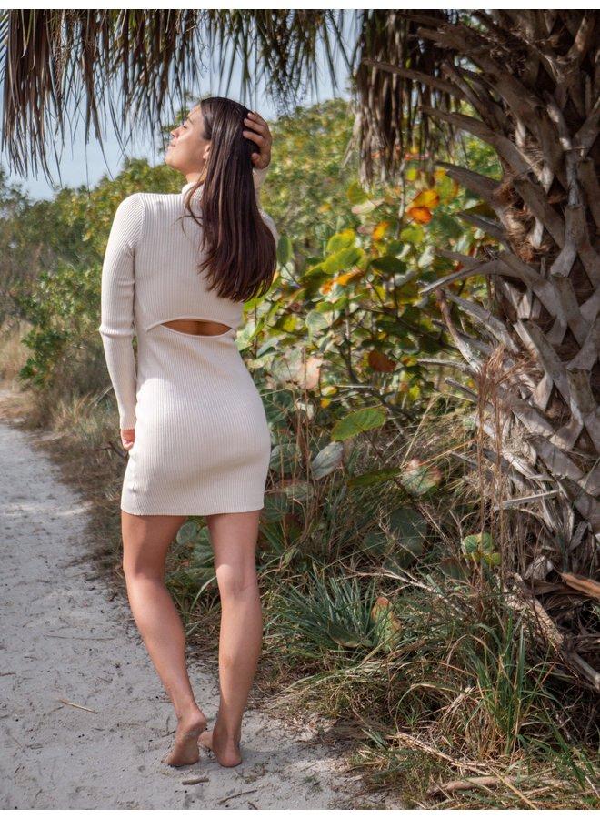Pearl Ivory Ribbed Mini Dress