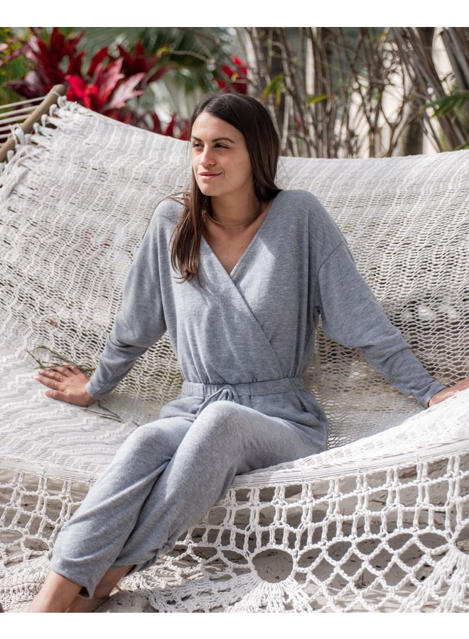 Daydreamer Grey Waist Wrap Jumpsuit