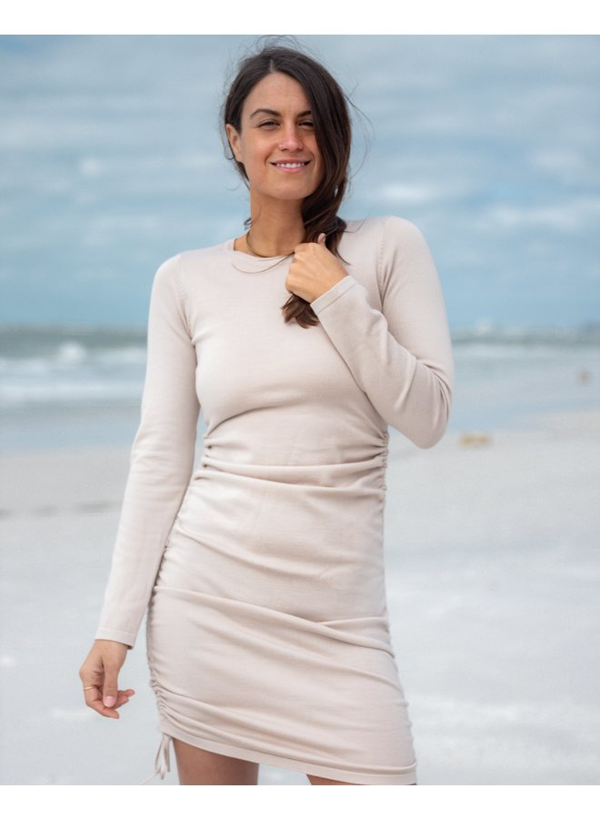 All Ruched Up Taupe Mini Dress