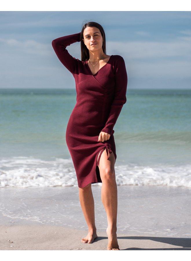 Valerie Maroon Wrap Dress
