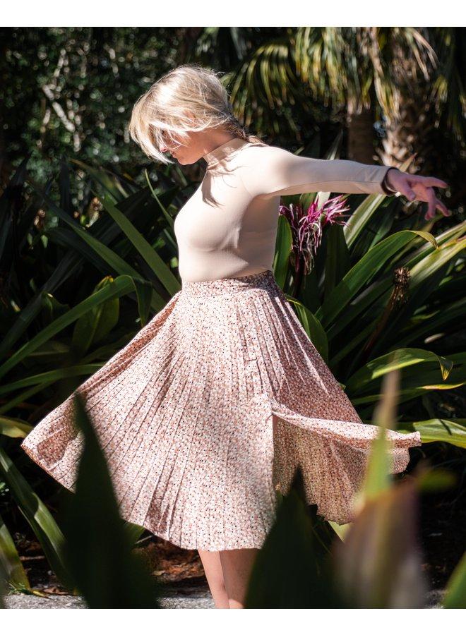 Floral Waltz Pleated Midi Skirt