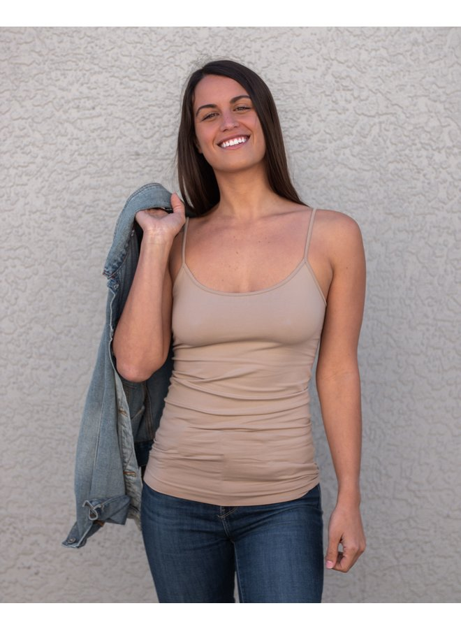 Light Taupe Skinny Strap Tank Top