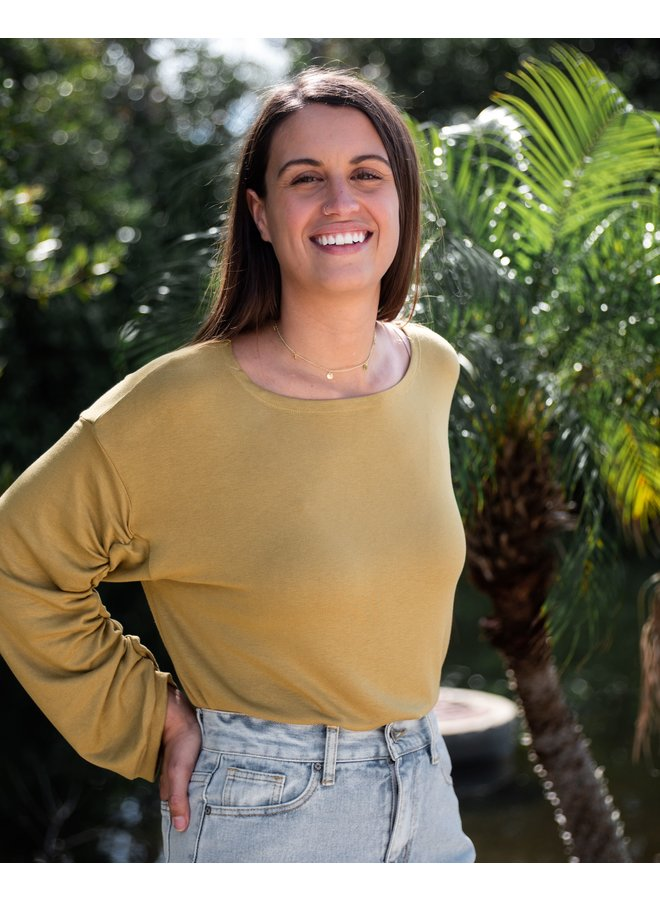 Angie Long Sleeve Ruched Top