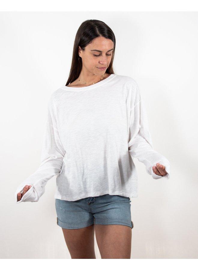Rachel White Cotton Slub Long Sleeve