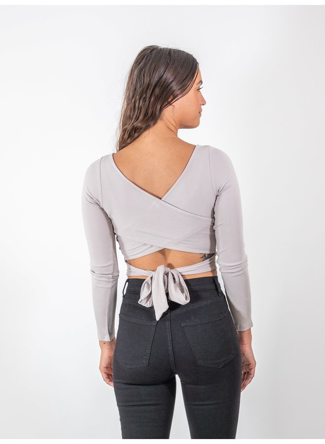 Back Cross Taupe Top