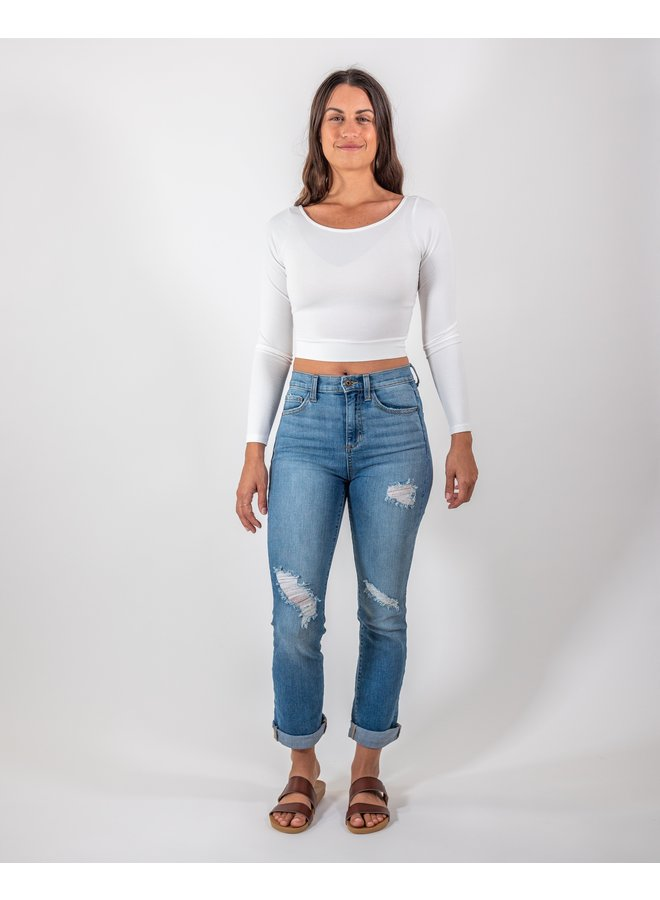 High Rise Classic Ripped Jeans
