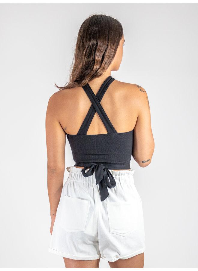 Black Halter Tie Top