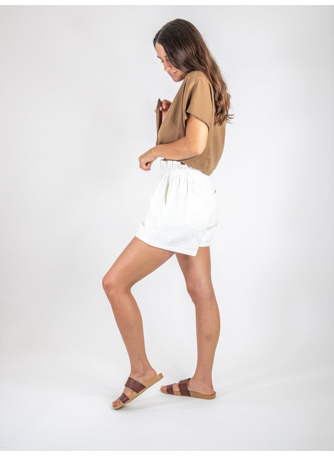 White Linen Paperbag Shorts