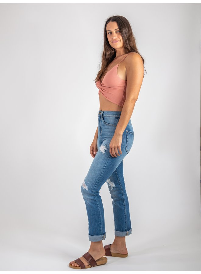 Peach Ribbed Top with Knot