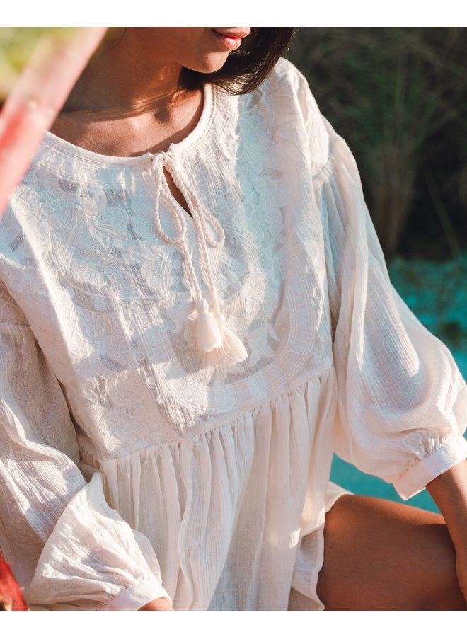 Evelyn Ivory Peasant Top