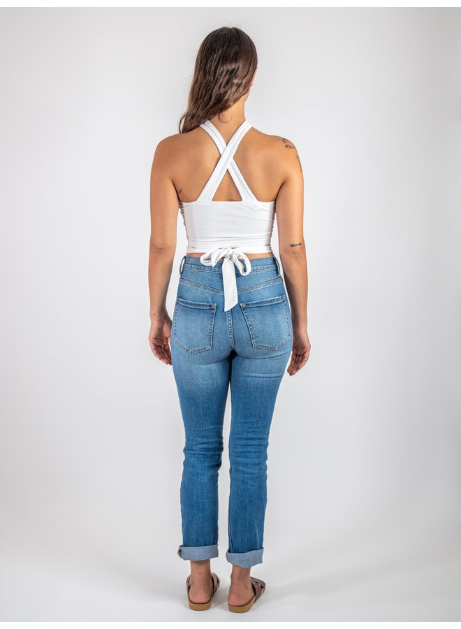 Off White Halter Tie Top