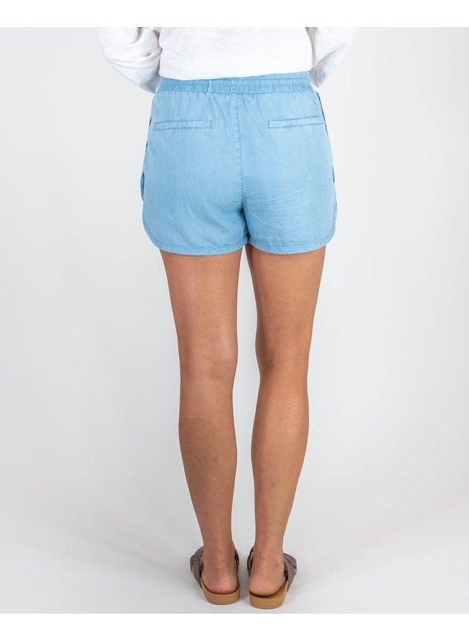 Light Denim Drawstring Shorts