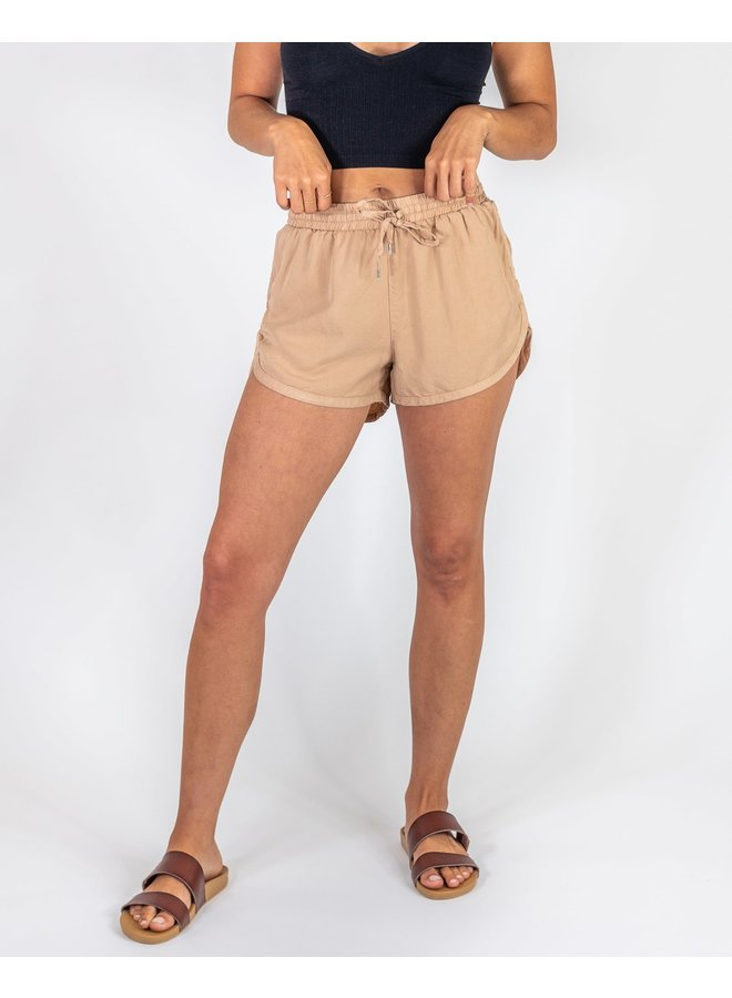 Camel Denim Drawstring Shorts