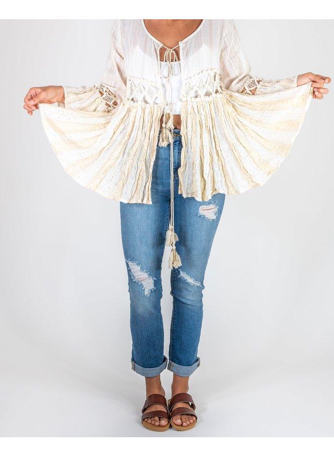 Off White Boho Kimono