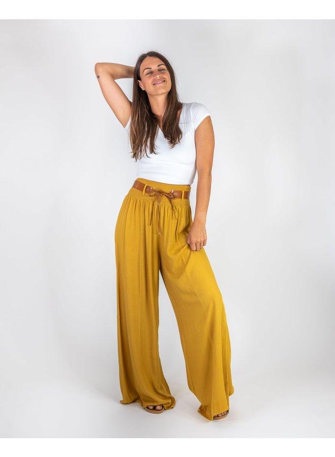 Golden Amore Palazzo Pants w/ Belt