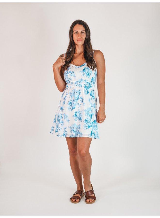 Blue Floral Mini Dress