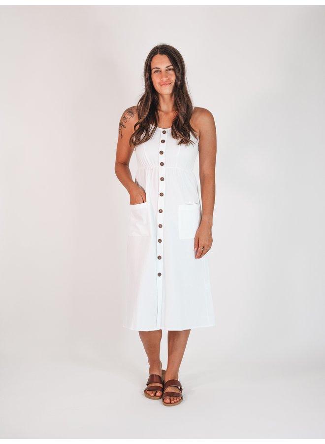 Plumeria Button Up Midi Dress