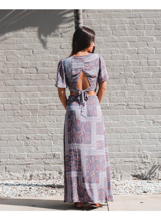 Grey Print Maxi Skirt