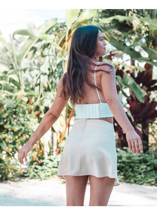 Melina Satin Vanilla Mini Skirt