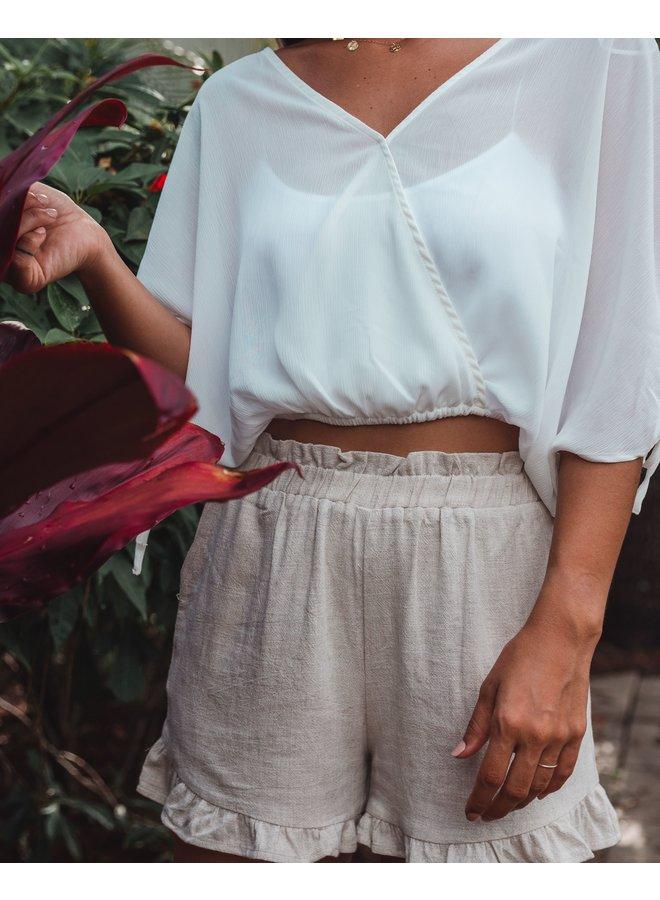 Calla Ruffle Linen Shorts