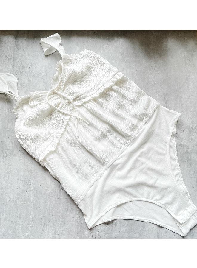 Lelu Off White Smocked Bodysuit