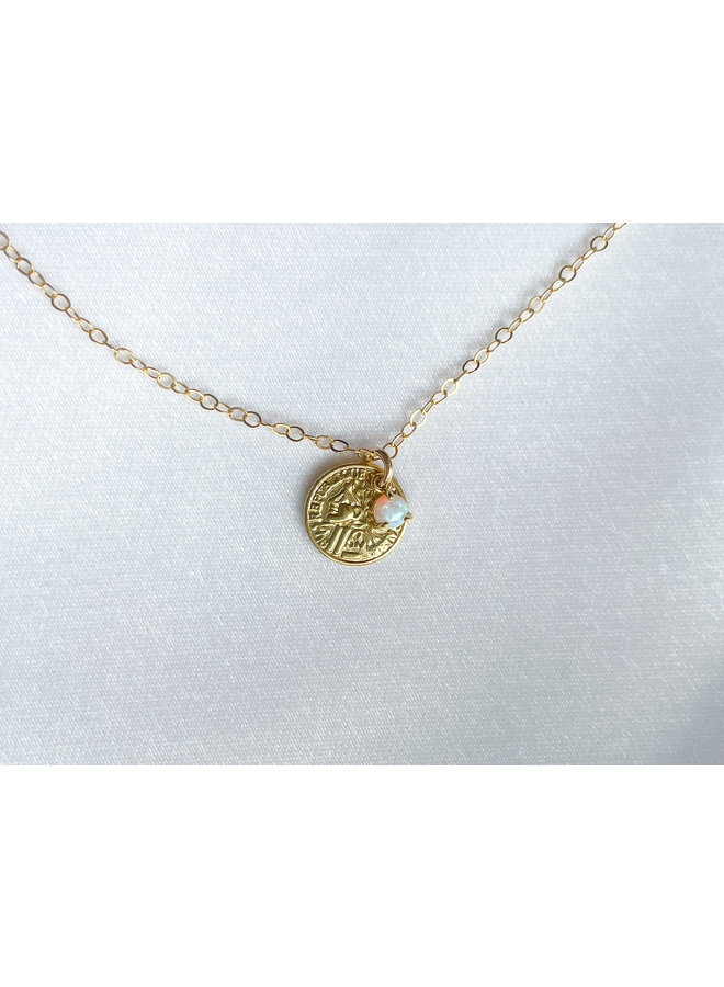 Gld Coin w/ Opal Necklaces