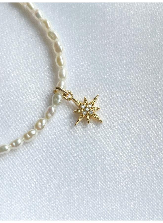 Pearl W/Cz Star Bracelet