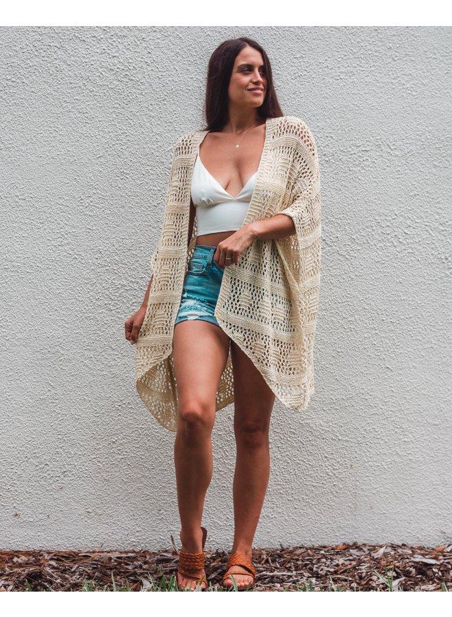 Tulum Natural Crochet Cardigan