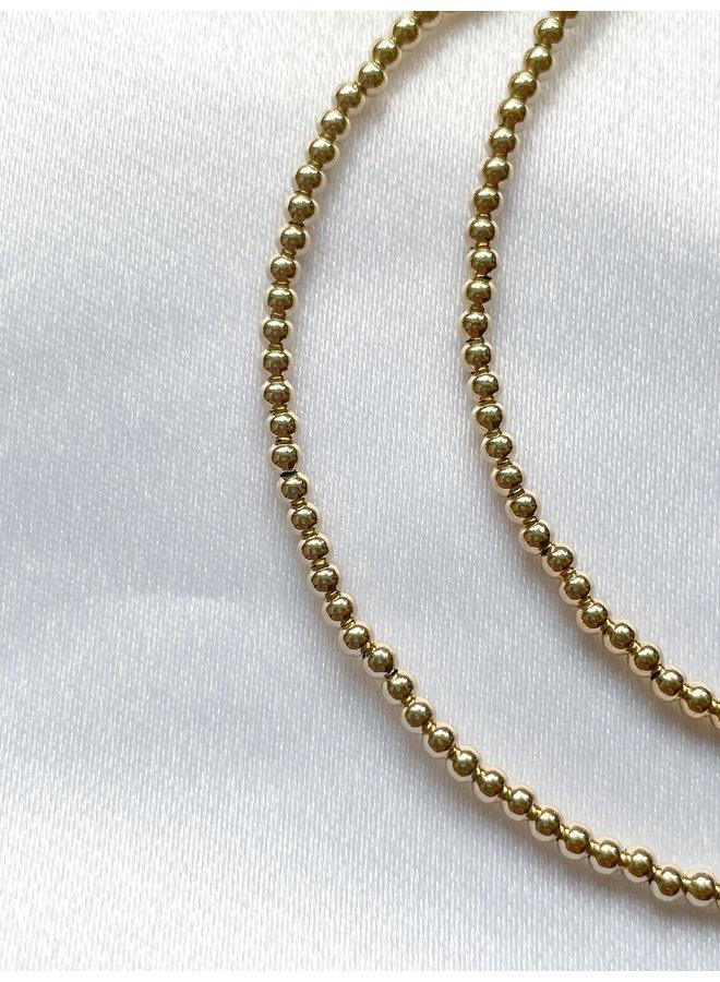 Gaea Double Wrap Gold Beaded Bracelet