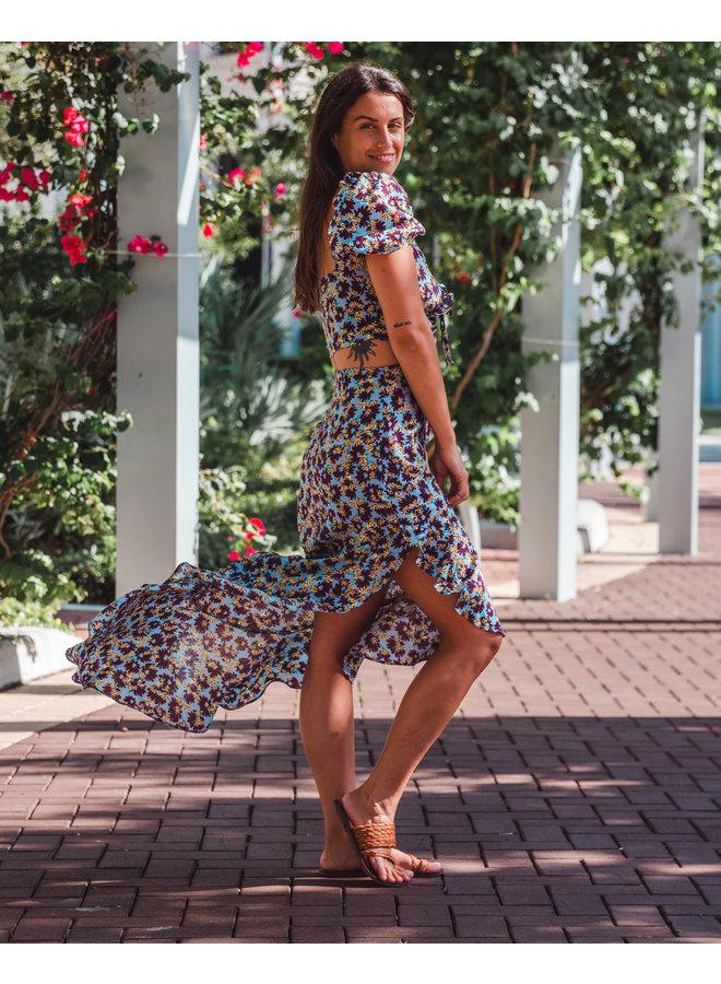 Este Floral Ruffle Skirt