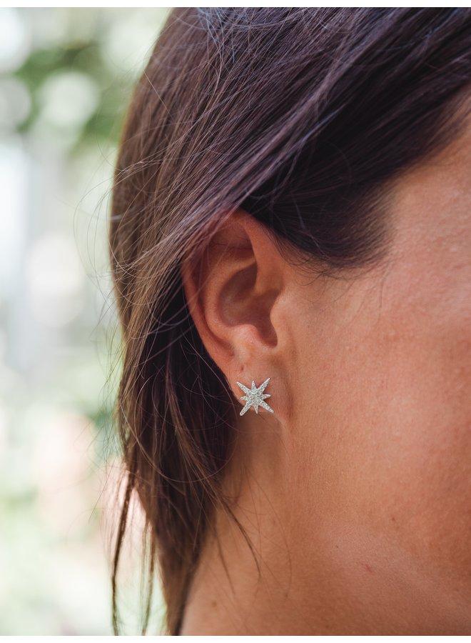 Stella Starburst Earrings Silver