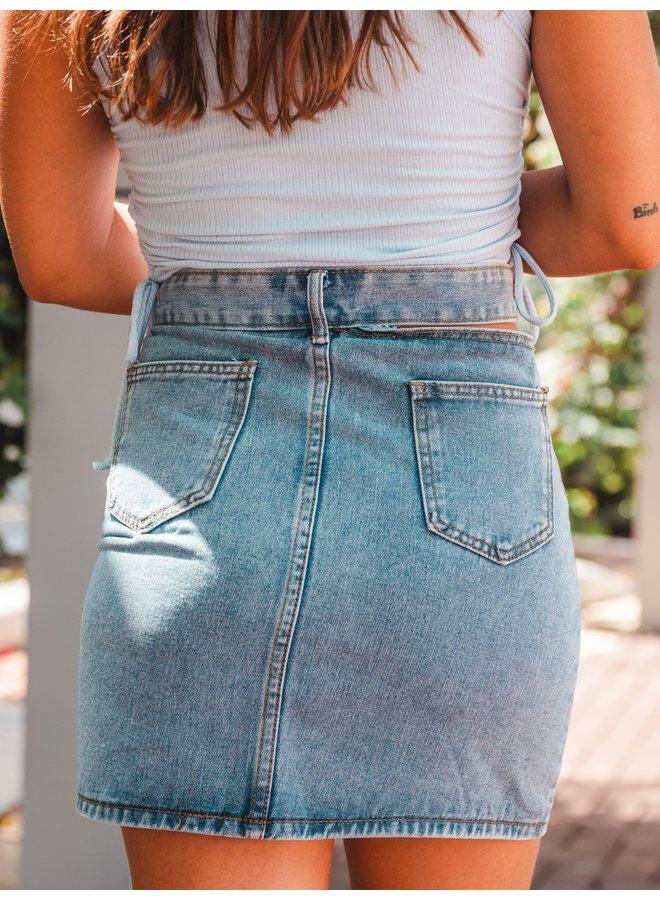 Lena Cutout Denim Mini Skirt