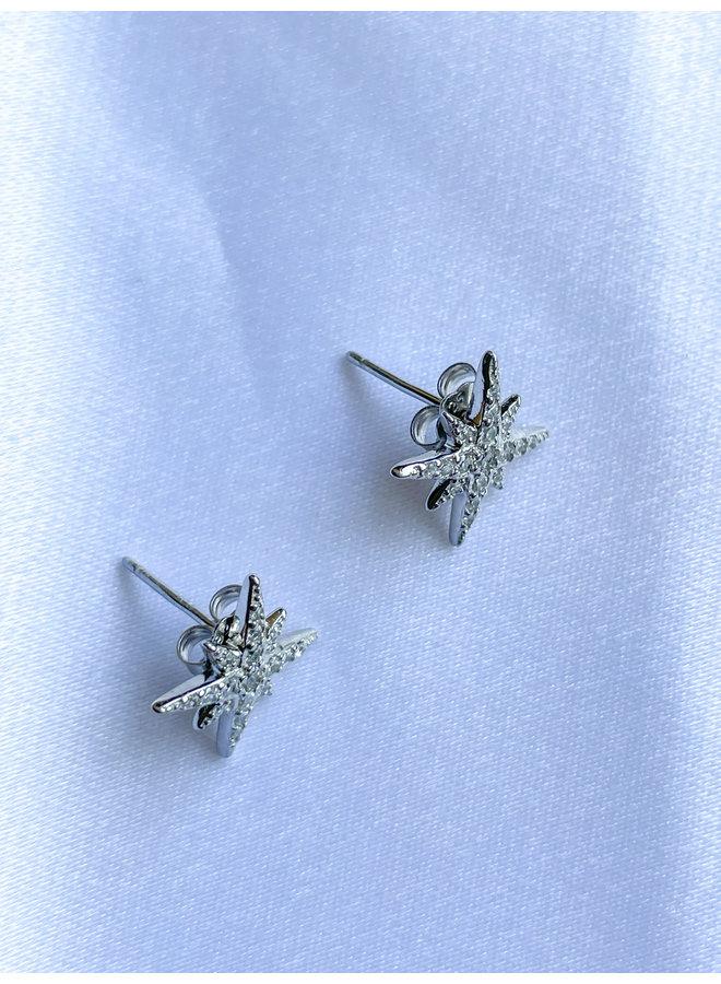 Silver Starburst Stud Earrings