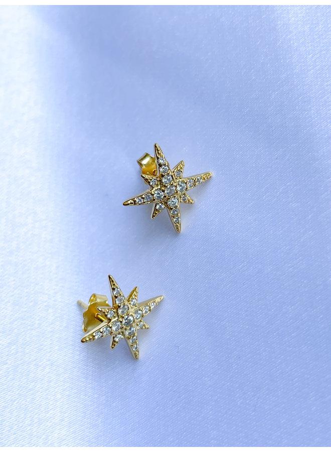 Gld Starburst Stud Earrings