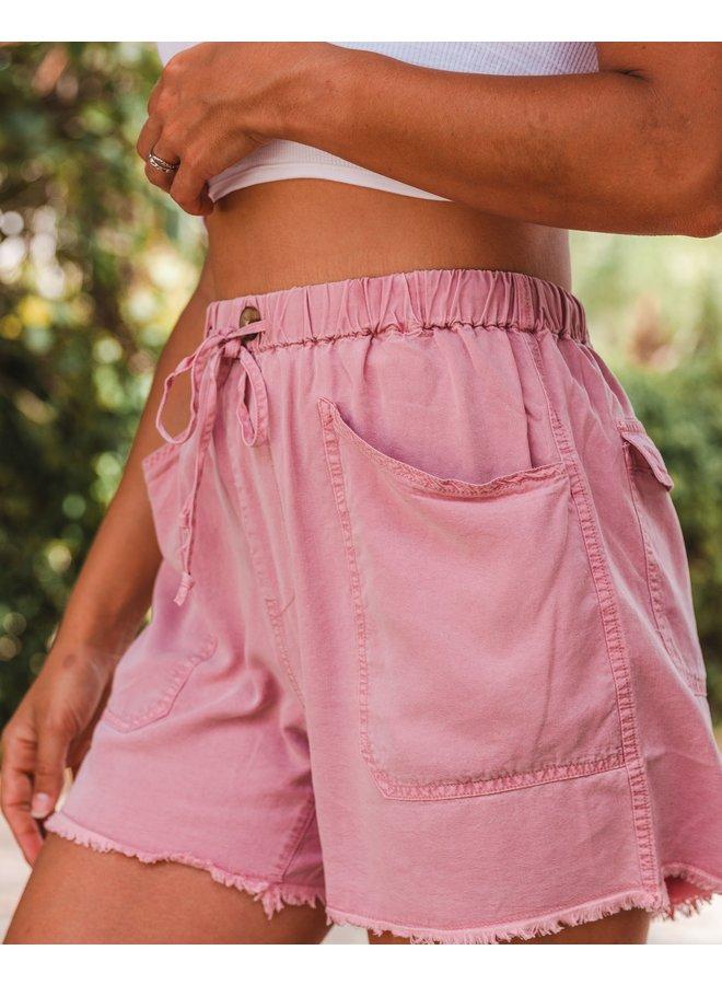 Autumn Rose Raw Edge Shorts