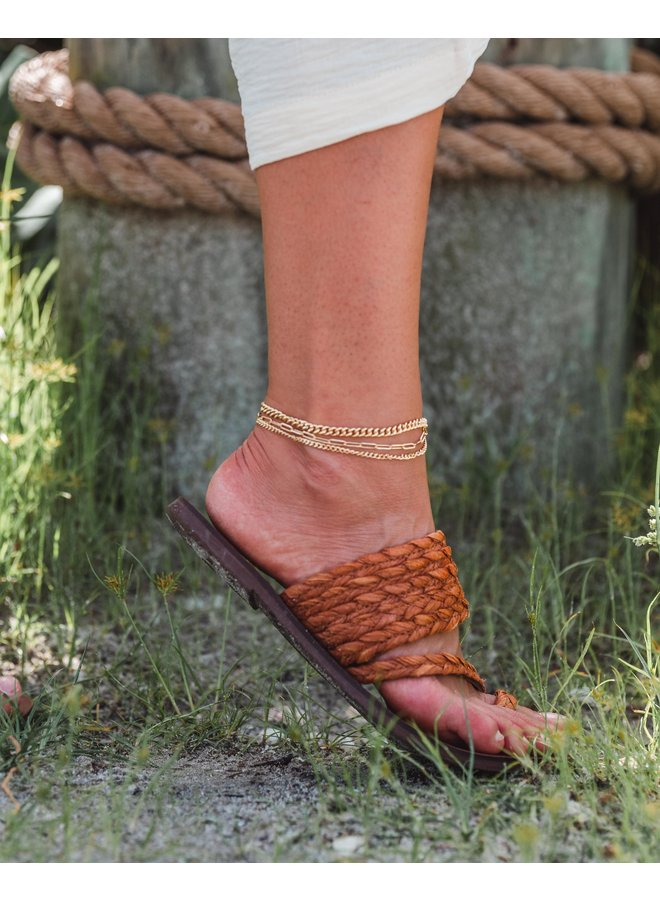 3 Row Chain Set Anklet