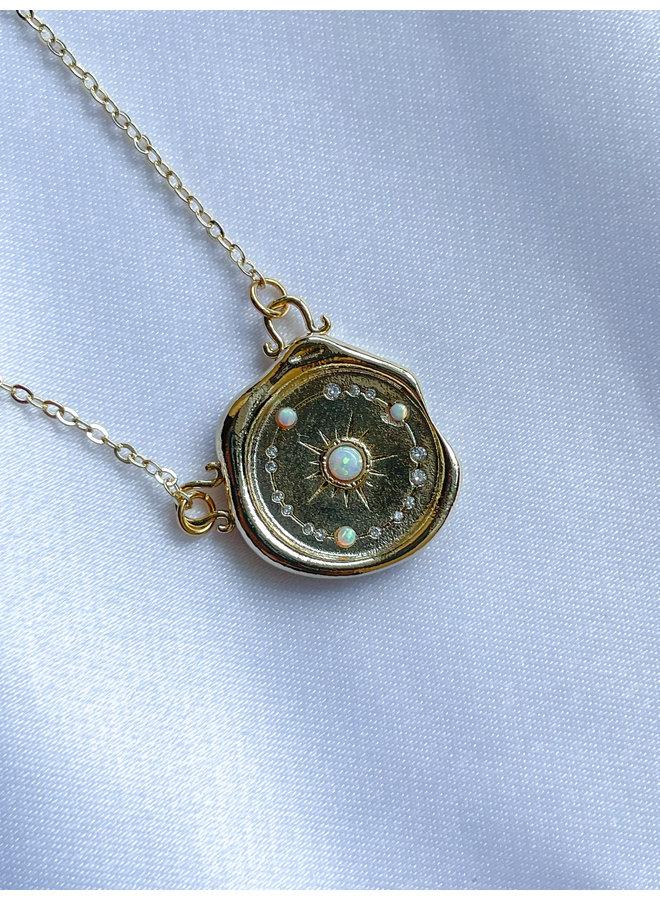 Opalite Sun Wax Stamp Necklace