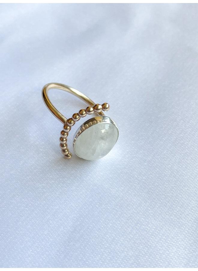 Moonstone Half Moon Ring Gold
