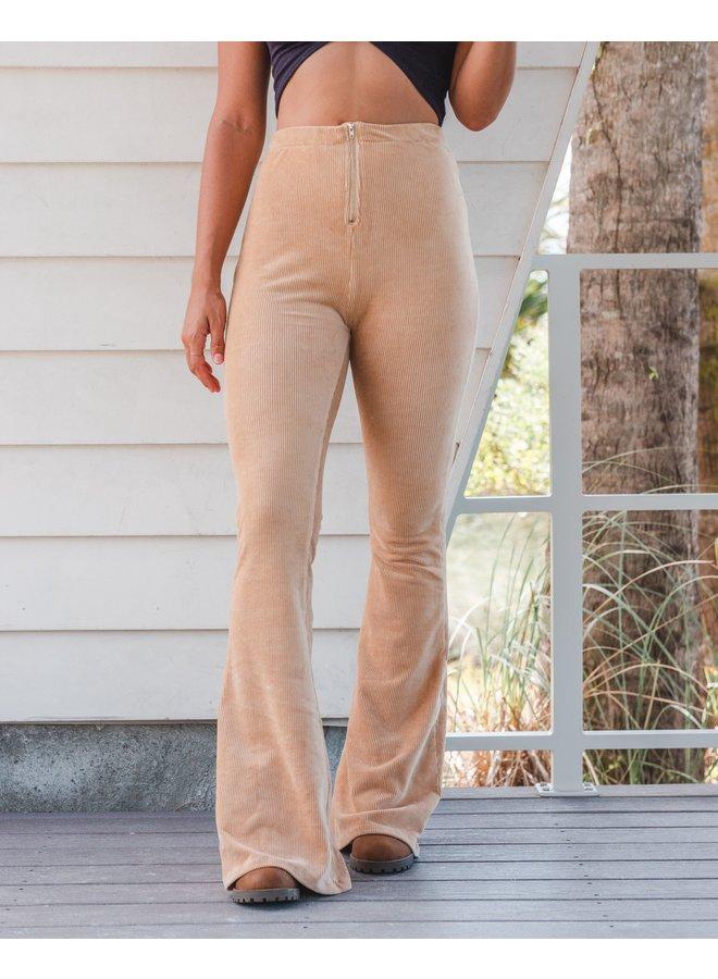 Tan Ribbed Pants  Hi Rise Flare Cotton Candy