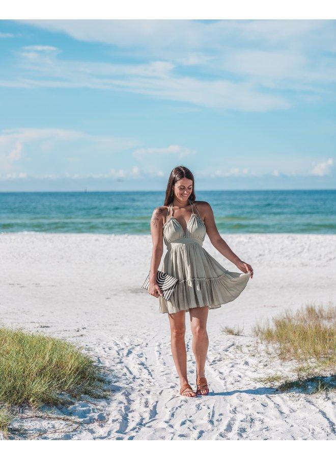 Sage Ruffle Mini Babydoll Dress